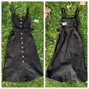 Retro Button Down Belted Strapless Midi Dress NWT